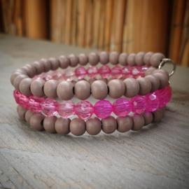 Memory wire armband bruin/roze