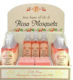 Display met producten rozenbottelolie