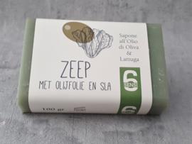100 gram zeep met olijfolie & sla (papieren wikkel)