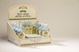 Display met producten olijfolie & lavendel