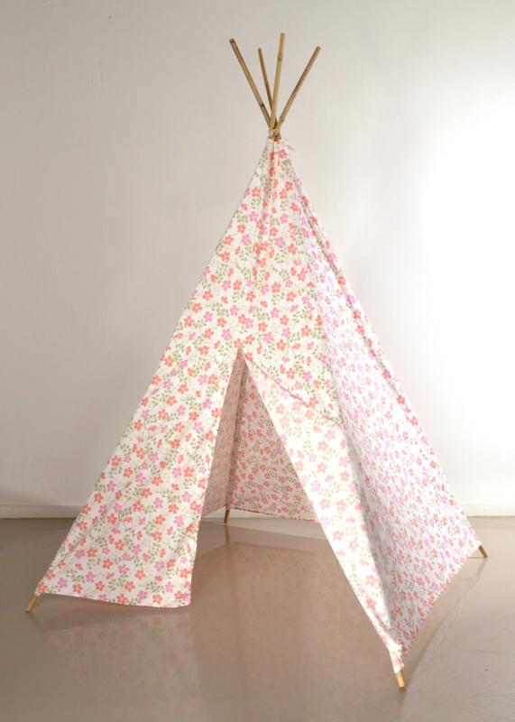 Tipi tent roze bloem dessin
