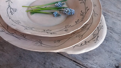 bloemen in keramiek d.m.v. engobe techniek