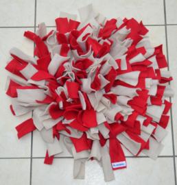 Snuffelmat rond rood - wit