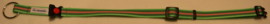 Halsband Groen met roze/zwarte strepen