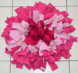 Snuffelmat rond 3 kleuren donkerroze - roze en lichtroze