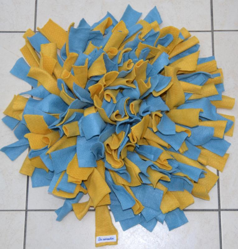 Snuffelmat rond blauw - geel