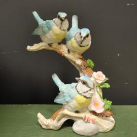 Beeld blauwe  vogeltjes op tak omhoog
