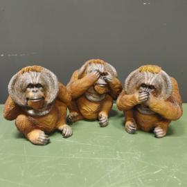 Horen zien en zwijgen Orang Oetan beeldjes