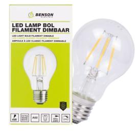 Led lamp bol filament A60 4W E27 dimbaar