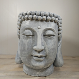 Boeddha kop plantenbak - Beton look beeld