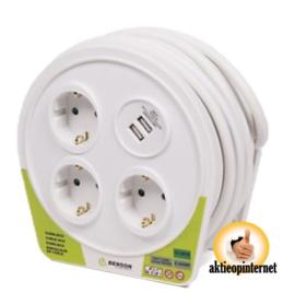 Kabelbox 10 mtr 3 voudig + 2 usb 2.4 amp