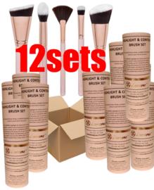 12x Makeup Kwasten Set - Contour -Kwasten Set - Lamora 5 delig kwasten in luxe Koker