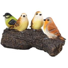 Vogels op stam op 25 cm Polystone