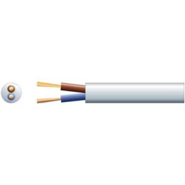 Stroom kabel Wit 2 X 0.75 ovaal plat P/M