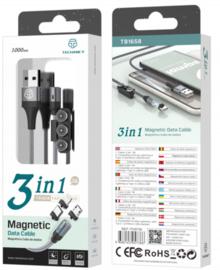 Magnetische 3 in 1 telefoon oplaadkabel - tb1658