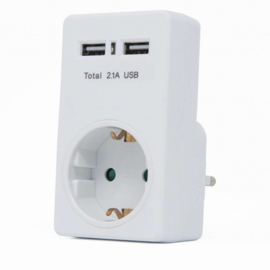 Dubbele USB lader Met Stopcontact - 2.1 A