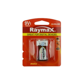 9 Volt Batterij - 6LR061 - Alkaline Raymax