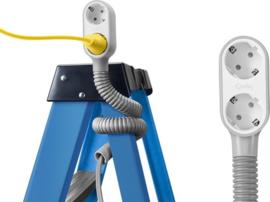 Quirky PROP POWER - wikkelbaar verlengsnoer stekkerdoos voor de klusser - WIT/GRIJS