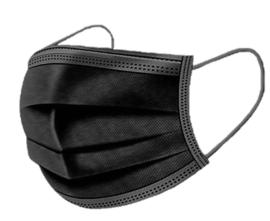Mondkapje Zwart 50 stuks!  3 - laags met  neusbrug en elastiek