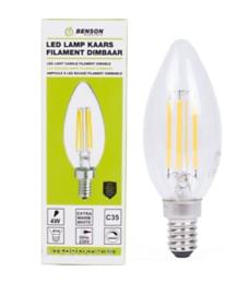 Led lamp kaars filament C35 4W E14 dimbaar