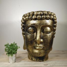 Boeddha kop plantenbak groot  - Goud beeld