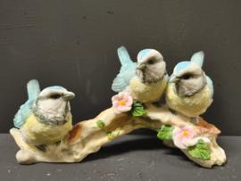 Beeld blauwe  vogeltjes op tak