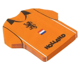 Oranje servetten shirt Holland 16 stuks 15x15,5cm