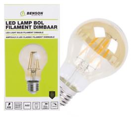 Led lamp bol filament A60 4W E27 amber dimbaar