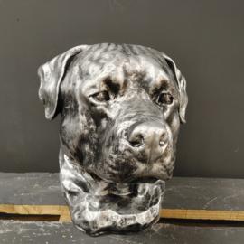 Hondenkop Rottweiler Beeld -zilver