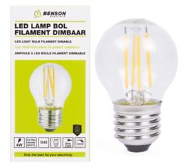 Led lamp bol filament G45 4W E27 dimbaar
