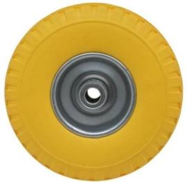 Steekwagenwiel bolderkarwiel Wiel + Band Klein Pu (Geel) 3.00-4 Stalen Velg Anti-lek - Hoogte wiel 26 cm