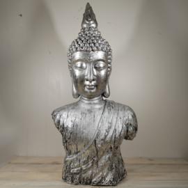Boeddha Beeld staand  punt Zilver 73 CM