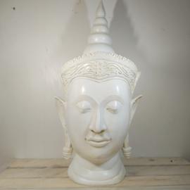Boeddha  kop punt beeld Crème