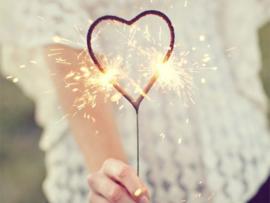 Sterretjes groot hart rose
