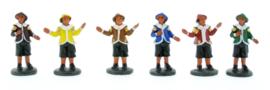 Pieten gekleurd 7cm - Set 6 stuks