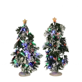 Snowy Conifer with lights battery operated 2 pieces