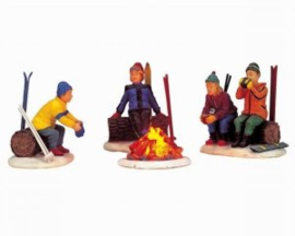 Skiers Camp Fire Set of 4