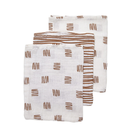 Washandjes - Block/stripe camel