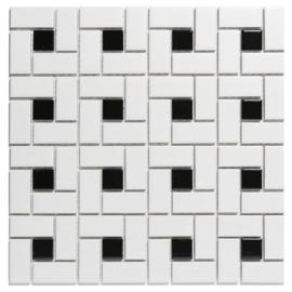 Mozaiek Pinwheel Wit met Zwart Geglazuurd Porselein TMF Paris PAPW140915