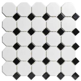 Mozaiek Octagon Wit met Zwart Geglazuurd Porselein TMF Paris PAOC140915