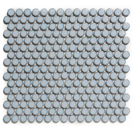 Mozaiek Rond Licht Blauw met Rand Geglazuurd Porselein TMF Venice VKN450