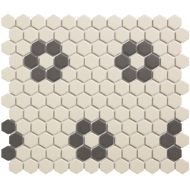 Mozaiek Hexagon Patroon Onverglaasd Porselein 23x26mm TMF London LOH-Kensington-4