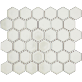 Mozaiek Hexagon Zacht Wit met retro rand Glanzend 51x59mm TMF Barcelona AFH13022