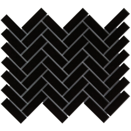 Mozaiek Visgraat Zwart Geglazuurd Porselein TMF Paris PAHG915