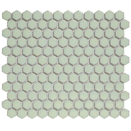 Mozaiek Hexagon Antiek Groen met retro rand  23x26mm  TMF Barcelona AFH23500