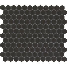 Mozaiek Hexagon Zwart Onverglaasd Porselein 23x26mm TMF London LOH2017