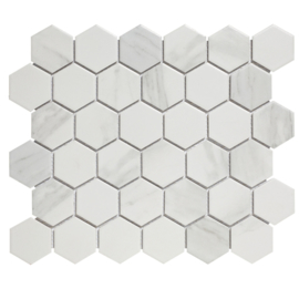 Mozaiek Hexagon Marmer Carrara wit effect 51x59mm AMH13003
