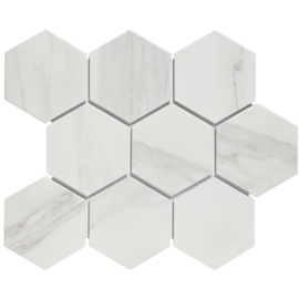 Mozaiek Hexagon Marmer Carrara wit effect 95x110mm AMH95003