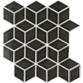 Mozaiek 3D Cubic Zwart Geglazuurd Porselein TMF Paris PACU915