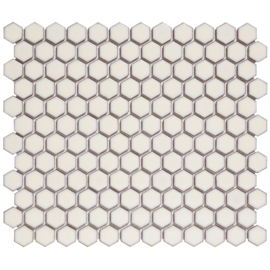 Mozaiek Hexagon Zacht Wit met retro rand  23x26mm  TMF Barcelona AFH23022